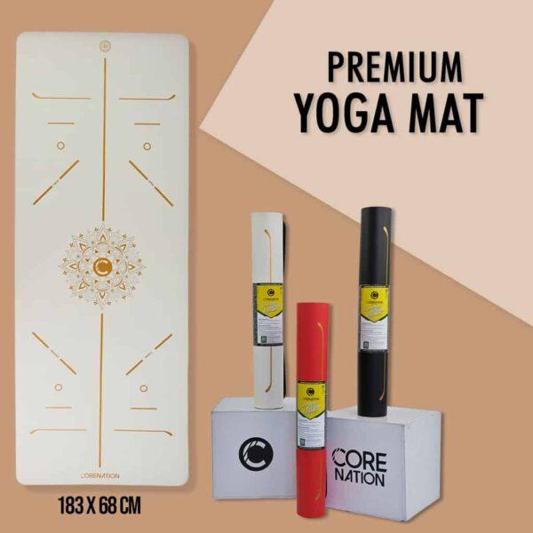 premium yoga mat white gold