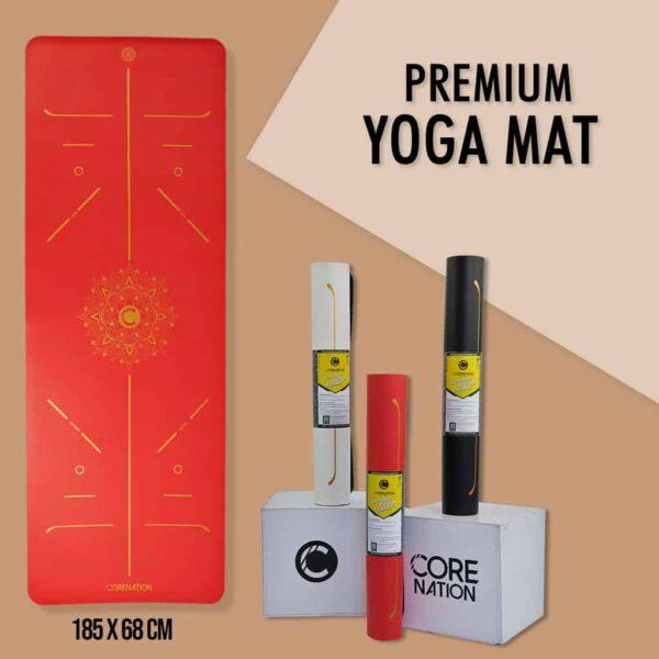 premium yoga mat red gold