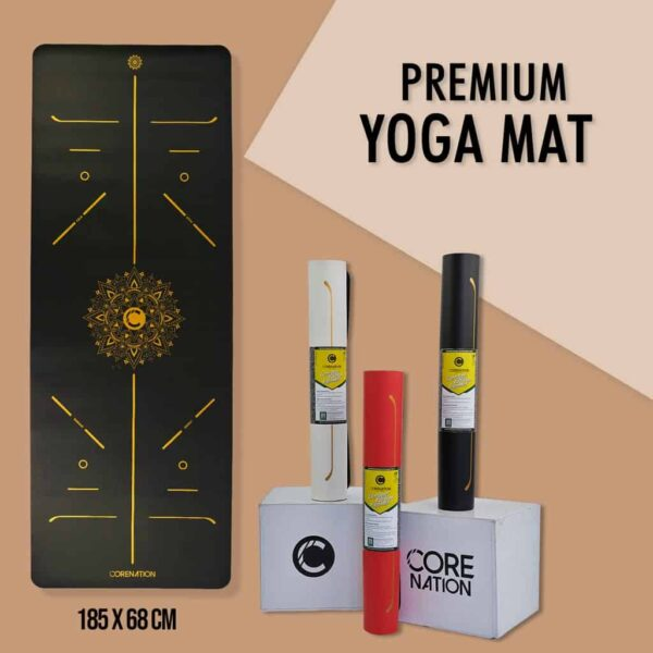 premium yoga mat black gold